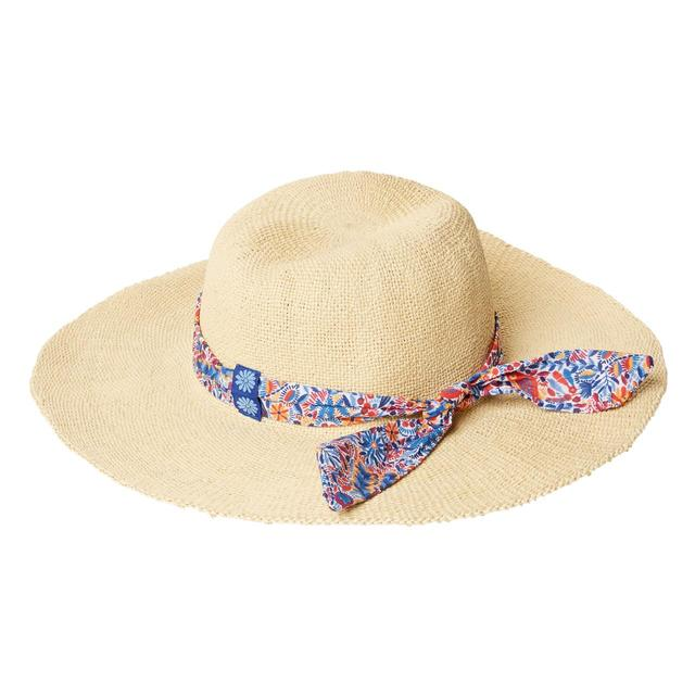 FatFace, Printed Scarf Straw Hat, Natural