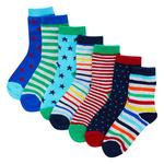 Waitrose Mini 7PK ESSENTIAL SOLID STRIPE SOCKS