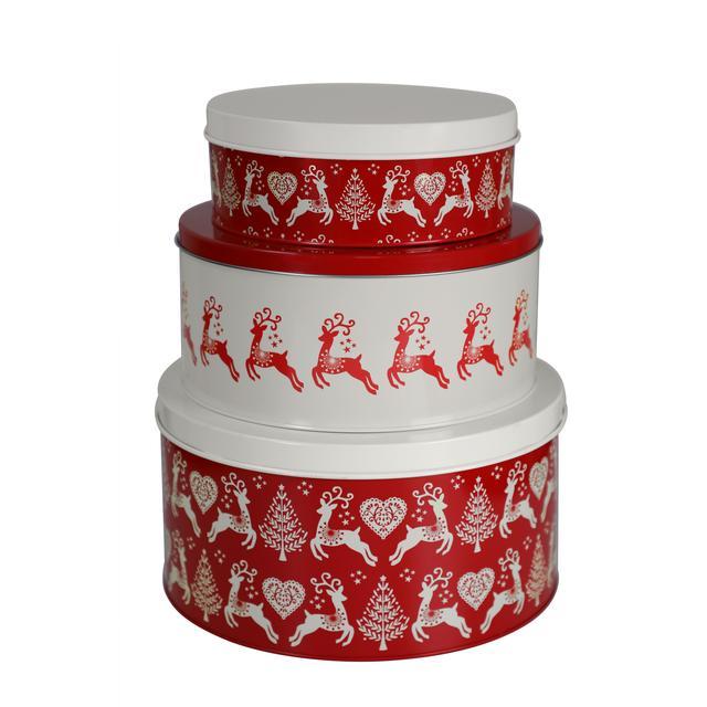 Christmas Tins.Christmas Cake Tins Set Of 3 Ocado