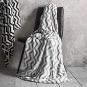 Zig Zag Flannel Fleece Throw, Grey
