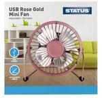 "Status 4"" USB Mini Fan, Rose Gold"
