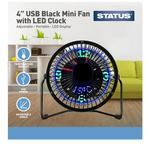 "Status 4"" USB Clock/Mini Fan - Black - Metal"