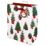 Painterly Christmas Trees Gift Bag, Large