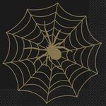 Black And Gold Spider Web Halloween Paper Napkins