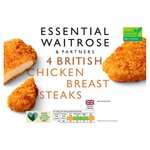 Essential Waitrose 4 Frozen Breaded Chicken Breast Steaks British