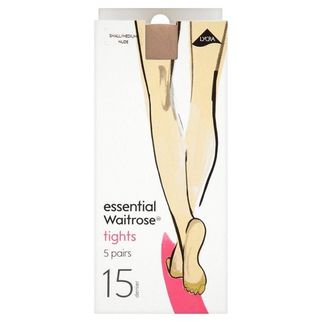 Essential Waitrose 15 Denier Tights, Nude, 5 Pairs