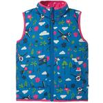 Frugi Recycled Reversible Pink and Blue Plane Print Gilet Bodywarmer