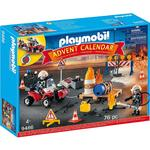 Playmobil 9486 Advent Calendar, Construction Site Fire Rescue with Motor