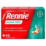 Rennie Sugar Free Heartburn & Indigestion Relief Tablets