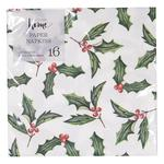 Waitrose Painted Holly Christmas Napkin