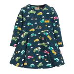 Frugi Organic Jersey Skater Dress in Navy with Car Print