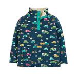 Frugi 6-12mths Organic Soft and Cosy Fleece in a Rainbow Car Print