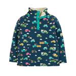 Frugi Organic Soft and Cosy Fleece in a Rainbow Car Print