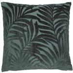 Grassington Leaf Velvet Cushion, Burnt Green