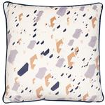 Malini Granite Velvet Cushion, Navy & Taupe
