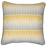 Magnus Jagged Geometric Cushion, Mustard & Grey