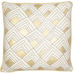 Jake Metallic Basket Weave Cushion, Cream & Gold Foil