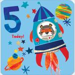 5th Space Rocket Birthday Card
