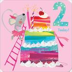 2nd Rainbow Cake Birthday Card