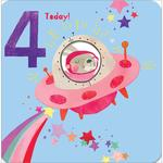 4th Spaceship Birthday Card