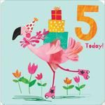 5th Flamingo Birthday Card