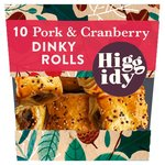 Higgidy 10 Pork and Cranberry Dinky Rolls with chestnuts & orange marmalade
