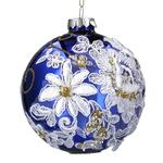 Gisela Graham Blue Glass & Fabric Flowers Bauble