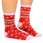 'I'm Dreaming Of A Wine Christmas' Womens Socks, Size 4-8