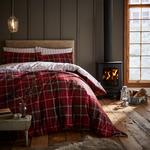 Catherine Lansfield Tartan Check Double Duvet Set, Red