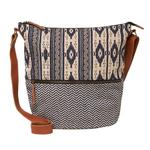 FatFace Tia Woven Patchwork Cross Body Bag, Navy