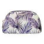 Fenella Smith Blue Palm Vegan Leather Oyster Cosmetic Case