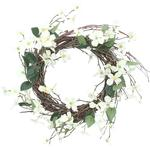 Gisela Graham White Fabric Floral Twig Wreath
