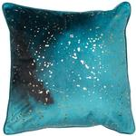 Mineral Metallic Velvet Cushion, Teal & Gold Foil