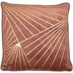 Metallic Art Deco Print Cushion, Dusky Pink & Gold Foil
