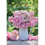 Jug Of Roses Birthday Card