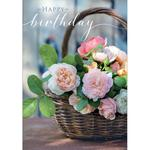 Basket Of Roses Birthday Card
