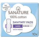Sanature 100% Cotton Sanitary Pads Super with Wings