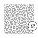 Compostable Leopard Paper Napkins, Grey
