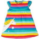 Frugi Organic Jersey Dress Rainbow Stripe Unicorn (0mths - 4yrs)