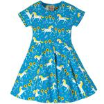 Frugi Organic Jersey Skater Dress Unicorn, (2 - 10yrs)