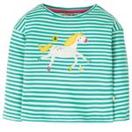 Frugi Organic Drop Sleeve Top Aqua Stripe Unicorn, (2 - 10yrs)