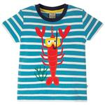 Frugi Organic T-Shirt Blue Stripe Lobster, (2 - 10yrs)