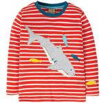 Frugi Organic Long Sleeved T-Shirt Red Stripe Shark
