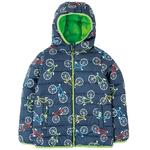 Frugi Recycled Puffer Coat Navy Rainbow Bicycles, (1 - 10yrs)