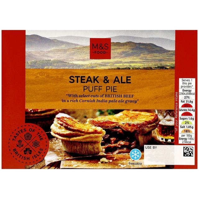 M&S Steak & Ale Puff Pastry Pie   Ocado