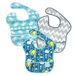 Hippychick Bumkins Waterproof Super Bibs Sea Friends, Whales & Grey Chevron