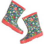 Frugi Girls Rubber Wellington Boots Ditsy Rabbits
