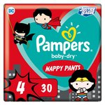 Pampers Baby-Dry Superhero Nappy Pants, Size 4 (9-15kg) 30 per pack