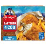 Birds Eye 4 Large Cod Fillets in Crispy Batter Frozen