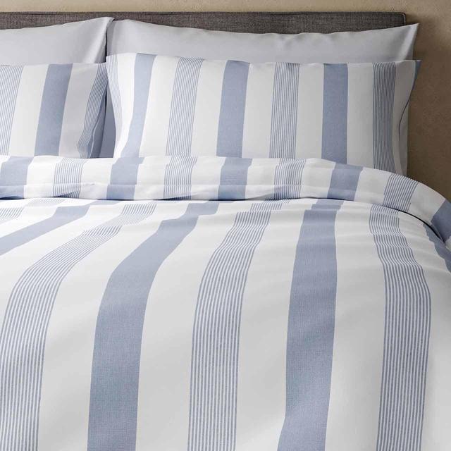 M S Hadley Pure Cotton Striped Bedding, Super King Bedding Set Blue